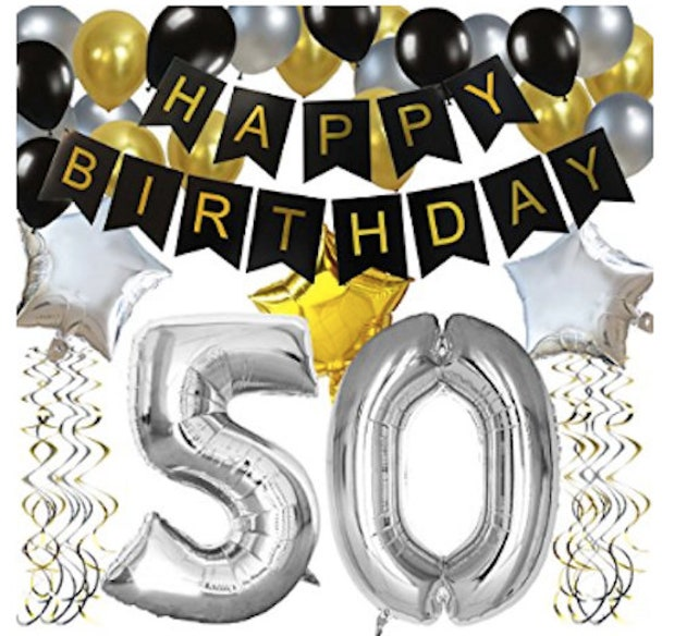 50th Birthday Decorations Party Kit Happy Foil Balloon 50 Number Black Gold White Latex Balloons Year Old Supplies