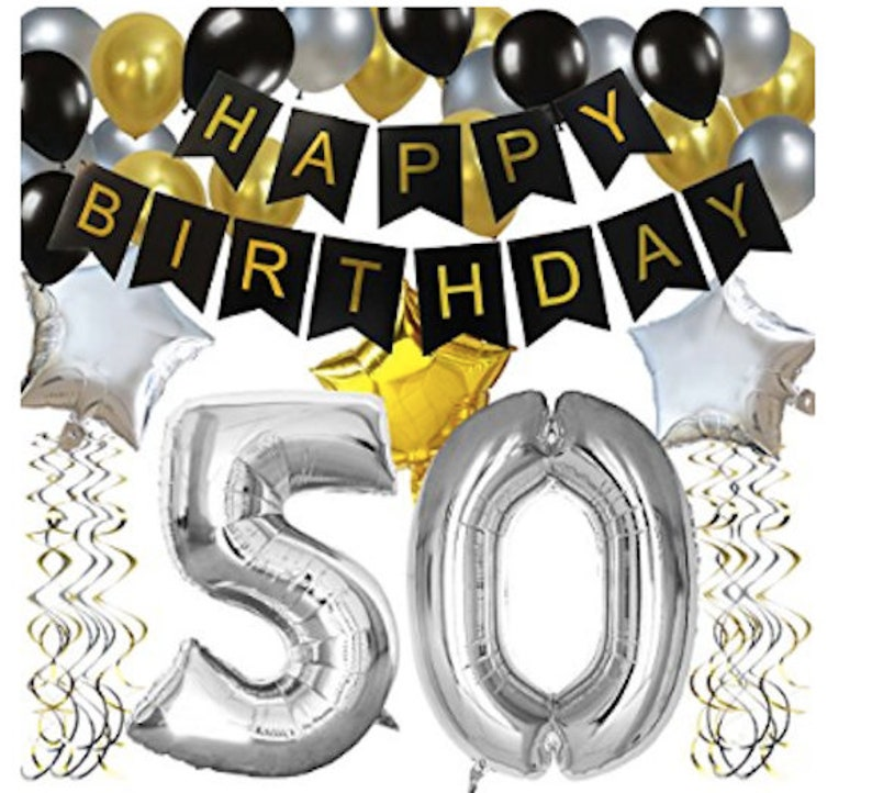 50 Number Balloon 50th Birthday Balloons Decorations Party Kit