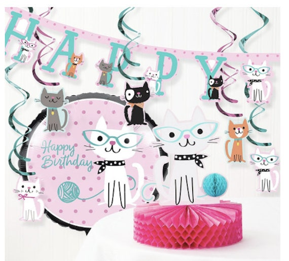 Kitty Cat Party Plates Birthday Baby Shower Meow
