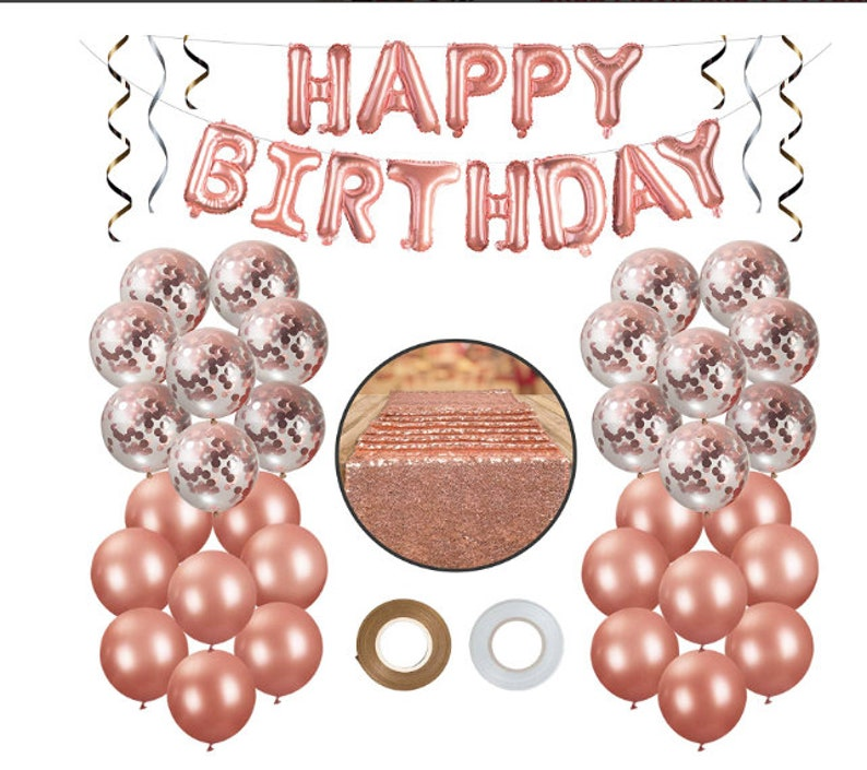 Rose Gold Party Decorations Confetti Balloons
