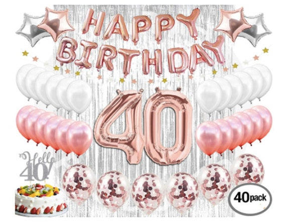 40th Birthday Decorations Rose Gold Party 40
