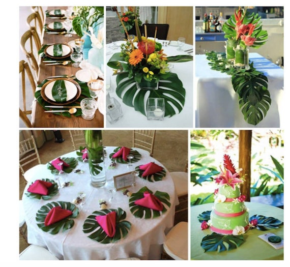 48 tropical leaves table decorations jungle theme party decor etsy - Deco table jungle ...