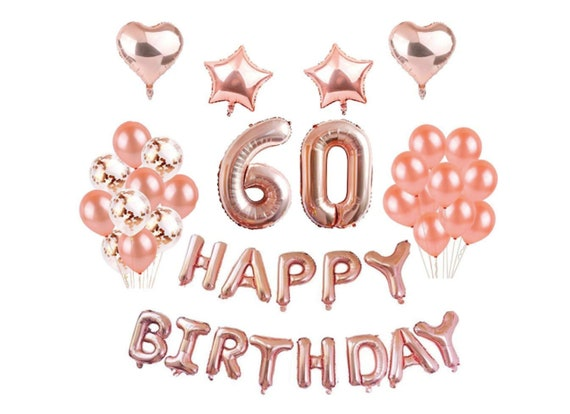 Rose Gold 60th Birthday Balloons Decorations Party