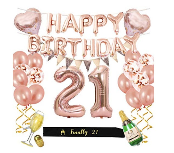 21st Birthday Party Supplies Rose Gold Decorations Foil
