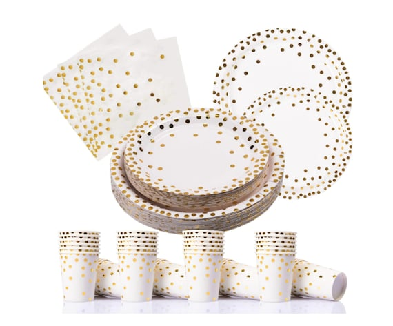 Blue and Gold Party Supplies 200PCS Disposable Blue Paper Plates Dinnerware Set Gold Dots 50 Dinner Plates 50 Dessert Plates 50 9oz Cups 50 Napkins Wedding Birthday Party Baby Shower Christmas