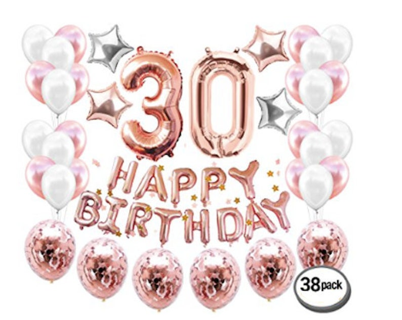 30th Birthday Decorations Number 30 Balloons Rose Gold Party