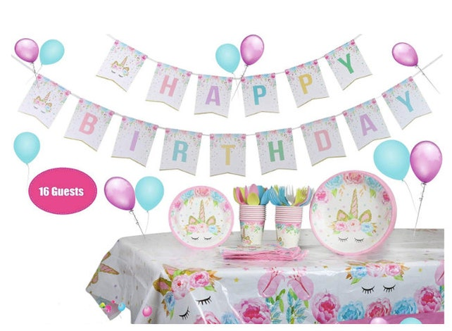 Unicorn Party Birthday Decorations Themed Supplies Tableware