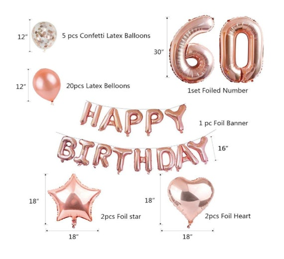 60th Birthday Decorations Rose Gold Balloons Party