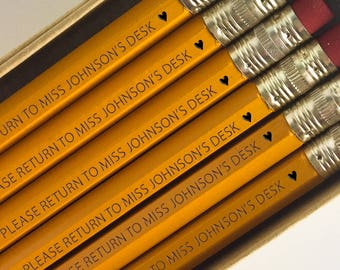 Teacher Pencils, Teacher Gift, Personalized Pencils, School Supplies, Engraved Pencils, Back to School, Desk Accessories, Teacher