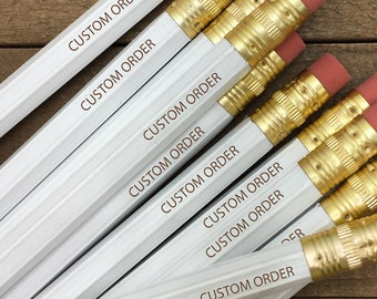 1, 2, 3, 4, 5, 6 or 12 Personalized Pencils, Engraved Pencils, Custom Pencils Set, School Supplies, Back to School, Stocking Stuffer