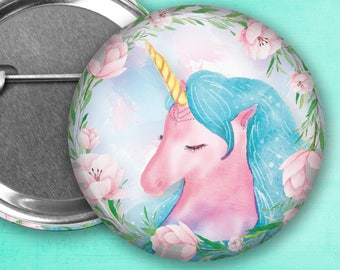 """Heavenly Dreams Unicorn Pin Back Button, Flair, 2.25"""" button, 1.25"""" button, Button Party Favors, Birthday Party Favors, Badge Buttons"""