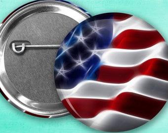 "American Flag Pin Back Button, Flair, 2.25"" button, 1.5"" button, 1.25"" button, Button Party Favors, Birthday Party Favors, Badge Buttons"