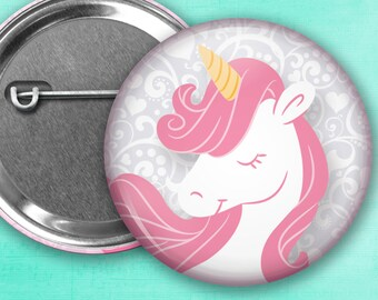 """Unicorn with Pink Hair Pin Back Button, Flair, 2.25"""" button, 1.25"""" button, Button Party Favors, Birthday Party Favors, Badge Buttons"""