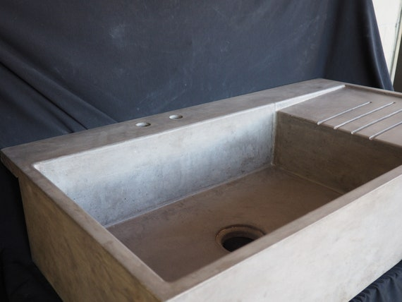 Farmhouse Sink With Faucet Extension And Attached Drainboard Etsy