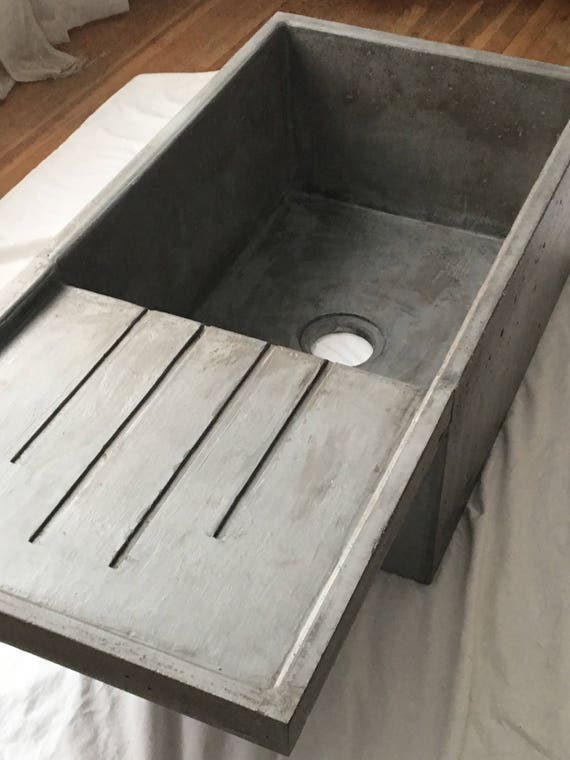 Farmhouse Sink.Concrete Farmhouse Sink With Attached Drainboard Etsy
