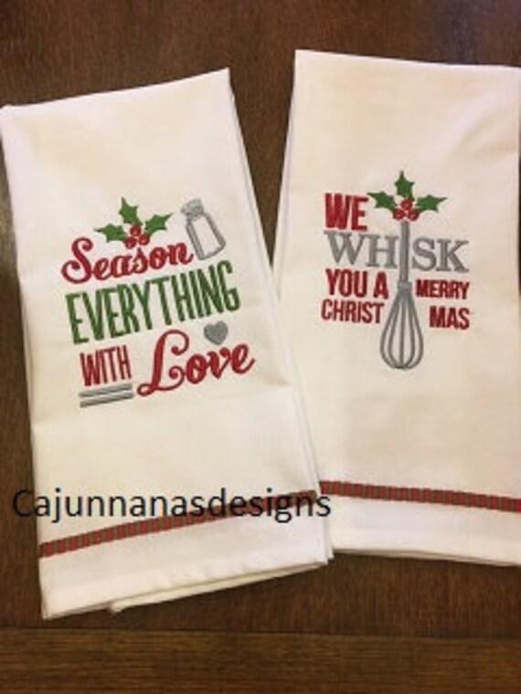 Christmas Tea Towel Set Christmas Kitchen Towel Set Etsy