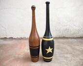 Pair of Vintage Wooden Indian Clubs, Man Cave Decor, Antique Exercise Clubs, Primitive Farmhouse Decor