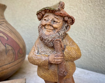 Retired 1984 Ink Signed Tom Clark Gnome Figurine Shadrach #19, Hat Made of Leaves, Original Price Tag
