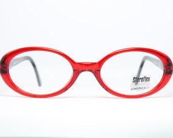 b931ca9f96e46e STEROFLEX Red Oval Vintage Brille Eyeglasses Occhiali Lunettes Gafas Bril  L462