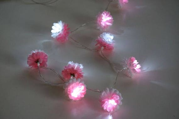 Pink String Lights Delectable Fairy Lights Pink String Lights Flower Garland LED Battery Etsy