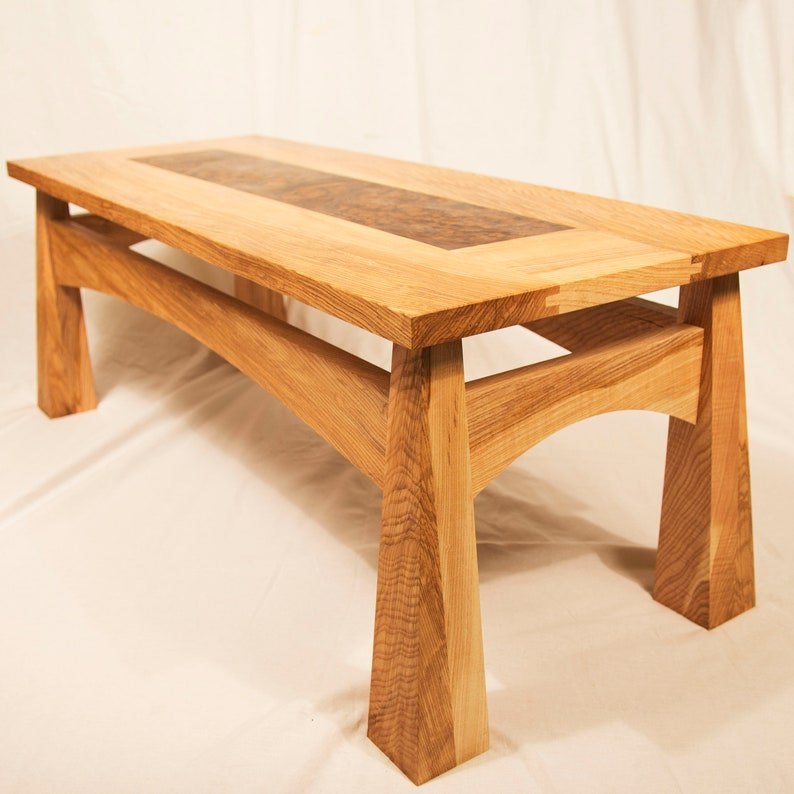 Japanese Coffee Table.Olive Ash And Burr Walnut Japanese Style Coffee Table