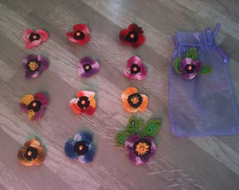 2-3-4-5-6cm - small flower poppy crochet purple shaded/flower colors red/small poopy artificial flower in various colors