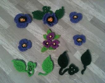 2-3-4-5-6-8 cm flower-light Purple Purple poppy to the hook/Daisy purple artificial/purple crochet flower