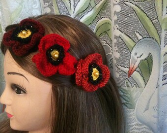 Jewelry crochet flower red/poppy flower red/burgundy/red crocheted flower, flower brooch/flower/hair pin/hair clip