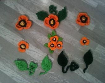 2-3-4-5-6-8 cm flower-crochet/flower light orange poppy orange artificial orange crochet flower