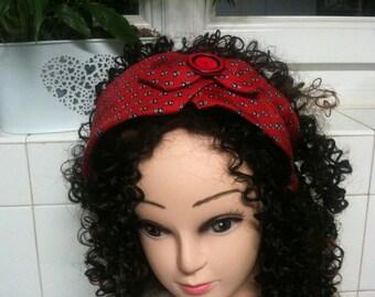 Elegant SHABBI rigid headband / headband woman/headband Red/Panda /Bandeau head/red headband/red turban headband