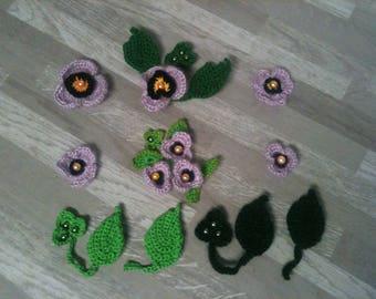 2-3-4-5-6-8 cm-flower purple poppy pink crochet/floral violet/purple flower / artificial/purple crochet flower