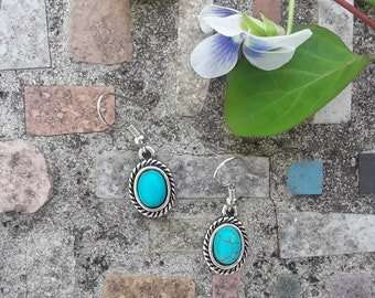 Mock Turquoise Oval Earrings