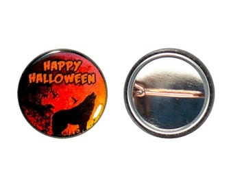 Happy Halloween Button or Fridge Magnet // Werewolf // Wolf // Orange // Spooky Sky // Party Favor // Pin or Magnet // 1 Inch
