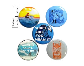 "Surfing Buttons 5 Pack of Backpack Pins Cute Pins Surfer Gift Lapel Pins Badges Brooches Surfing Gift Set 1"" P27-3"