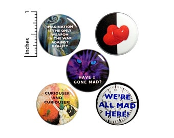 "Alice In Wonderland // Buttons or Fridge Magnets // 5 Pack // Backpack Pins // Brooches // Lapel Pins // Cheshire Cat // Gift Set 1"" #P7-1"