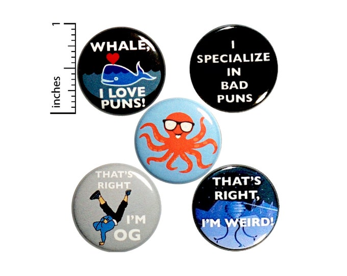 Featured listing image: Funny Buttons Cute Whale I Love Puns Random Funny Pins for Backpacks or Jackets Lapel Pins Badges 5 Pack Gift Set 1 Inch P37-1