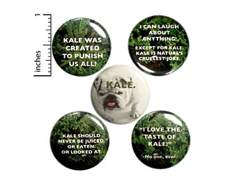 """Funny Sarcastic Buttons I Hate Kale Pins for Backpacks or Jackets Lapel Pins Badges Kale Is Gross 5 Pack Gift Set 1"""" P34-3"""