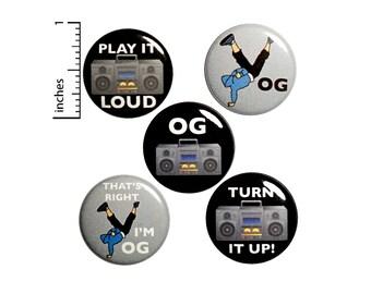"Hip Hop Buttons or Fridge Magnets // 5 Pack // Backpack Pins // Break Dancing // Lapel Pins  // Original Gangster // Gift Set // 1"" #P7-5"