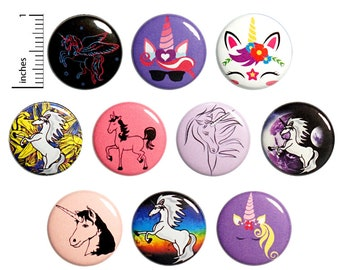 "Unicorn Pins (10 Pack) Buttons or Fridge Magnets Party Favors, Gift Set 1"" 10MP4-1"