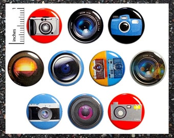 "Photography Camera Lens Pins (10 Pack) Buttons Backpack Pins or Fridge Magnets, Photographer Gift Set 1"" 10MP4-2"