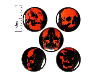 Skull Button or Fridge Magnet 5 Pack of Pin for Backpack or Jackets Pinbacks Horror Gift Pin Set Cool Rad Dark Edgy 1 Inch SP4-1