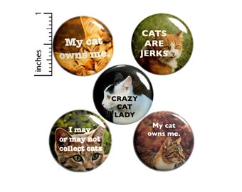 I Love / Hate Cats Funny Set of 5 Pin for Backpack / Buttons or Fridge Magnets / Cat Gifts for Her / 5 Pack, 1 Inch, Sarcastic, P40-5