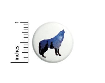 Cool Wolf Button Badge Silhouette Forest Night Sky Hiking Backpack Pin 1 Inch #50-11