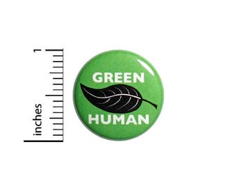 Green Button Eco Friendly Green Earth Friendly Human Recycle Rad Pin 1 Inch #55-1