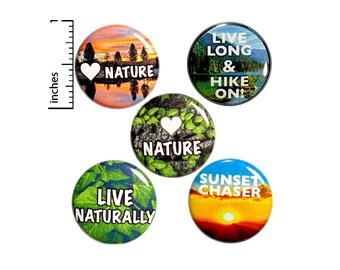 "Nature Buttons 5 Pack of Backpack Pins Cute Pinbacks Hiker Gift Lapel Pins Adventure Gifts Hiking Pins Nature Gift Set 1"" P15-3"
