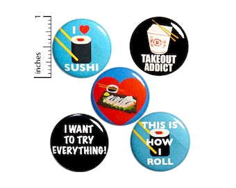 "Foodie Buttons 5 Pack of Backpack Pins Sushi Takeout Cute Lapel Pins Cool Brooches Badges Cool Pinbacks Foodie Gift Set 1"" #P13-2"