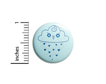 Cute Rain Cloud Button // Heart Eyes Pin // Love The Rain // Backpack Pin // Lapel Pinback // Cute Weather Gift 1 Inch #82-27