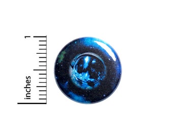 Blue Planet Outer Space Button Pin or Fridge Magnet, Backpack Pin, Lapel Pin, Sci-Fi Pin, Space Pin-Back, Button Cool, Gift, 1 Inch 95-28