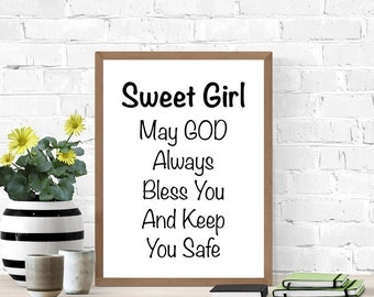 May God Bless You, Sweet Little Girl, New Baby Sign, Gift for Goddaughter From Godparents, Nursery Gift, Prayer for Baby, Digital Wall Art