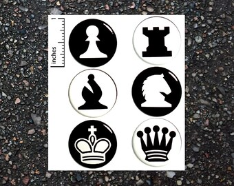 Chess Buttons Pins for Backpacks Jacket Lapel Pins Cool Nerdy Geeky Badges Pinbacks Brooches or Fridge Magnets 6 Pack Gift Set 1 Inch P31-5